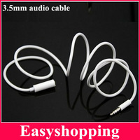 1M White 3.5mm Audio Extended Cable Cord Male-Female AUX Audio Cable Cord 100pcs DHL/EMS Freeshipping