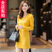 Korean version of the new women's spring and autumn round neck long-sleeved dress  5 color