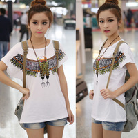 New arrival 2014 summer women's tops batwing loose t-shirt plus size basic shirt female short-sleeve white t shirts
