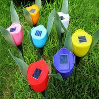 Free Shipping 130pcs/lot Outdoor Yard Garden Path Way Solar Power LED Tulip Landscape Flower Lamp Lights