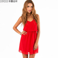 2014hot sale plus size women solid chiffon dress strap dress  black red color