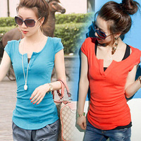 Free shippping New 2014 Summer Fashion Sexy shoulder pads V-neck short-sleeve women office lady jersey tops T-shirt tee shirts