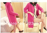 2014 new spring clothing contracted long round collar sweater Knitting cardigan coat with 7 beautiful colors