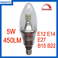 Free shipping 5W candle LED bulb lights clear glass flame tip E12 E14 110V 220V dimming dimmable 12pcs SMD5630 high brightness