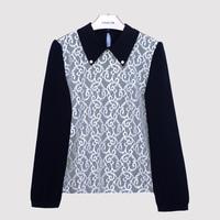 2014 spring and autumn fashion women's slim casual shirt sexy lace shirt peter pan collar chiffon shirt