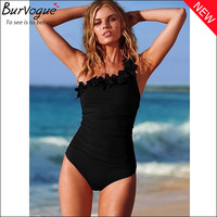 2014 hot sale summer beach swimwear one-piece swimsuit bathing wear woman black/peach pink ruffle bodysuit swimming suit