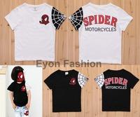 2014 brand new arrival summer fashion wholesale handsome spider man cartoon super hero children boy girl short seelve T shirt