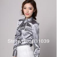 Hot sale Fashion  Europe Stripe Plaid Printed Lady Vintage Design Long Sleeve Slim Women Shirt XS-XXL Free Shipping