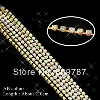 210cm/bag AB color GOLD BASE Shiny Nail Crystal Rhinestone Cup Chain