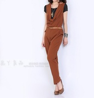 2014New Women's Clothing  jumpsuit Pants Black / dark camel Size 36/38/40/42 one-piece free shipping