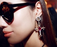 Min.order is $15 (mix order)-European And American Popular Cross Earrings Exaggerated-E390