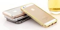 Luxury Hybrid Rhinestone Diamond Aluminum Metal Bumper Case For iPhone 4 4S 5S 5 + MOQ:1pcs/lot Free Shipping