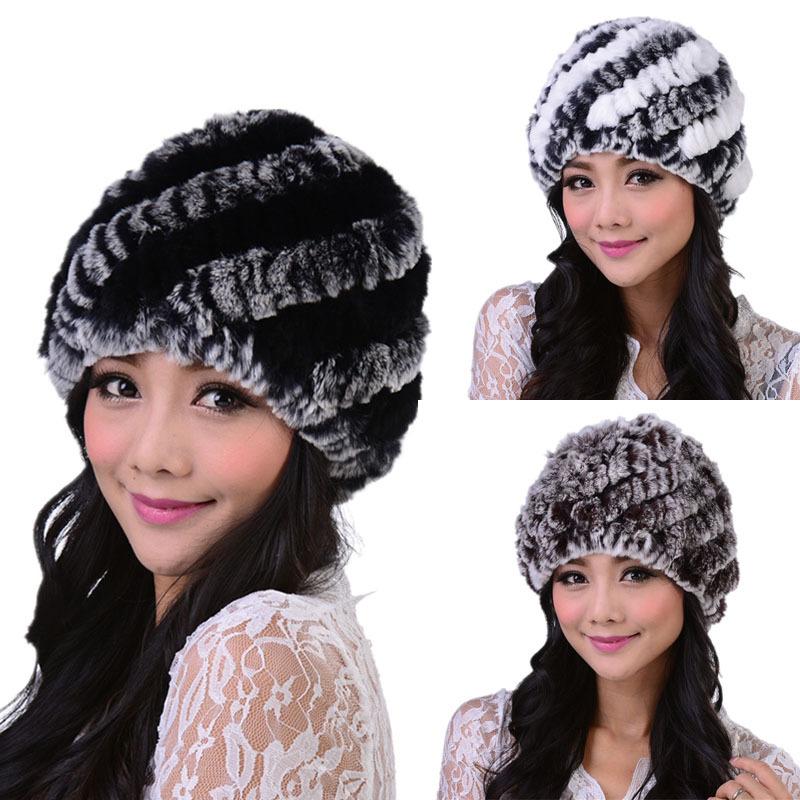 2014 New Style Genuine Knitted Rex Rabbit Fur Hat Natural Rabbit Stripe Fur Caps Fashion Women Beanie Headgear Various Colors(China (Mainland))