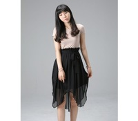 Hit Color Lrregular Short-Sleeved Chiffon Dress Free shipping