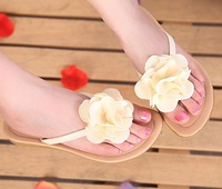 2014 Sandals Female Beaded Flower FLat Flip-flop flats Women's Shoes Free shipping US SIZE5-7.5