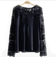lace lady women's sexy Lace Sleeve Chiffon Blouse Shirts casual cozy elegant XL tops hollow out knitted shoulder XL