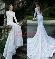 2014 Berta Elegant Lace Wedding Dress Sexy Mermaid White Backless Bridal Dresses With Long Sleeve Chapel Train BO3920