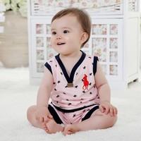 Children clothing 100% cotton vest set baby short sleeve twinset baby cartoon set vest pants five colors 80 90 95cm freeshipping