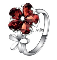 Garnet ring Free shipping Natural garnet 925 silver ,plate 18k white gold, simple style, gem size 5*7mm,red color,#19