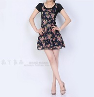 2014 New women's clothing chiffon print high waist short skirt suspenders flower one=piece free shipping