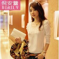 2014 new autumn women's blouses slim lace leisure casual basic shirt female top velvet thickening shirts plus size S M  L XL XXL