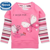 nova kids brand 2014 hot fashion baby children clothing cotton pink spring long t shirt pinted butterfly for baby girls F3938#