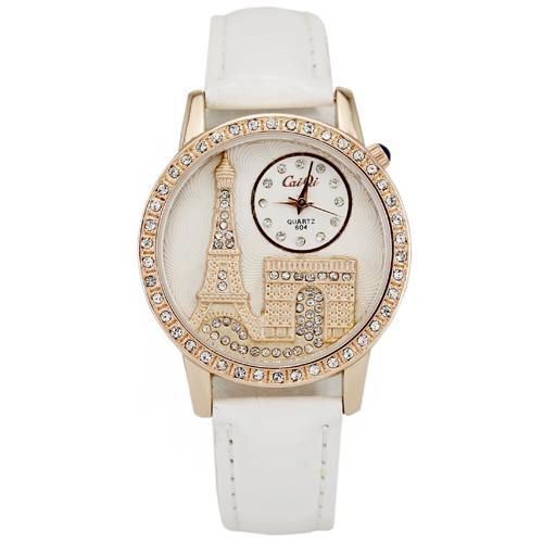 Fashion White Luxury Eiffel Tower Ladies Girls Women s Xmas Holiday Gifts Jewelry Crystal Diamond Analog