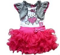 Retail 1pcs free shipping 2014 summer girl fashion cartoon hello kiity dress baby cotton tutu dress in stock