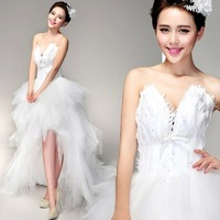 2014 new wedding style dress sexy deep v-neck front short back long feathers diamond trailing silk organza wedding dress