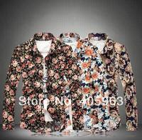 Mens Flower Print Shirts,mans shirts 2014  plus size flowers long-sleeve shirt Hot Sale