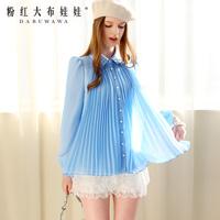 Lovable Secret - Shirt female 2014 spring blue gem xiangpin ol elegant chiffon shirt long-sleeve shirt  free shipping
