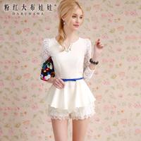 Lovable Secret - Shirt female long-sleeve 2014 spring white lace slim waist white shirt  free shipping