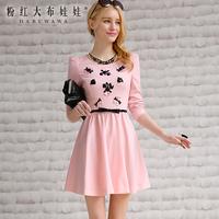 Lovable Secret - 2014 spring one-piece dress women's pink long-sleeve dress slim gentlewomen  free shipping