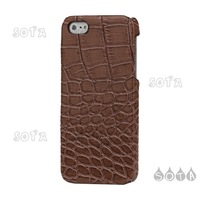 Free Shipping Brown Crocodile Leather Hard Plastic Cover Case for iPhone 5 Wholesale