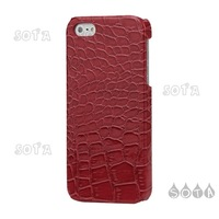 Free Shipping For iPhone 5 Crocodile Leather Hard Plastic Cover Case - Red Color Wholesale