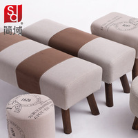 Jane domains shoes stool stool minimalist fashion small sofa bed end stool solid wooden bench cloth bed modern vanity stool benc
