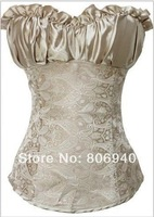 Satin with Jacquard Strapless Side Zipper Closure Corsets Shapewear