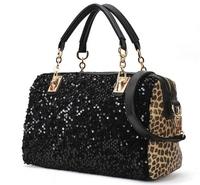 New 2014 casual women's handbag leopard print patent bag shoulder bag handbag messenger bag women's handbag Free Shipping