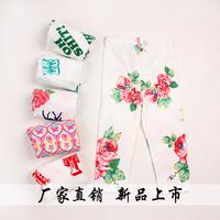 Children Legging 2014 capris summer female children 100% Children's Cotton Pants 2742
