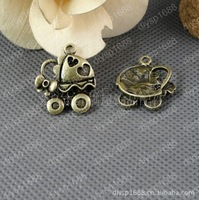 40 pcs/lot Zinc alloy bead Antique Bronze Plated Charms Pendants Fit Jewelry 22*26MM Baby carriage Shape JJA2145