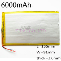 3.7V 6000mah 3691155 Lithium Polymer Li-Po Rechargeable Battery  For MP5 GPS PSP PAD camera Mobile backup power bank Tablet PC