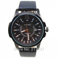 Freeshipping 30pcs/lot discount sales calendar design CURREN quartz watch,Japan imported quartz move,100% genuine leather band