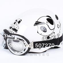 "B.98 Taiwan "" EVO "" ABS Vespa Half Face Motorbike Helm OFF Road Casco Scooter "" Motor Bear "" White Helmet & UV Goggles Adult"