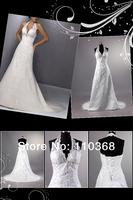 Ivory Lace Halter V-neck Sleeveless Bridal Wedding Dresses,New Style Lace Bridal Dresses-HS9628 free shipping