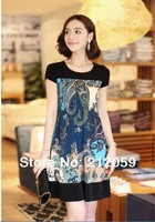 New 2014 summer women  plus size casual  short-sleeved  Slim was thin knee length chiffon print  girl dress