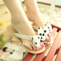 HOT!2014 new women summer fashion clip toe casual sandals bow manual Eur large size 34-43 Low-heeled beach thong sandals