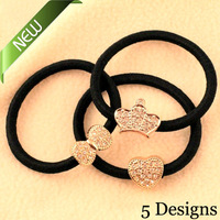 New ! High Quality Fashion cute Rhinestone Bow Aplle Bow Crown Elastic Hair Band Jewelry  High-quality Woman Headdress 2014