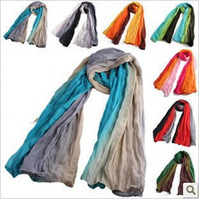 2014 fluid pleated autumn and winter scarf cape gradient scarf colorant match scarf