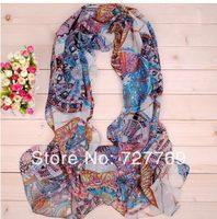 Wholesale luxurious wheel print georgette silk scarf(10pcs/lot) Free shipping