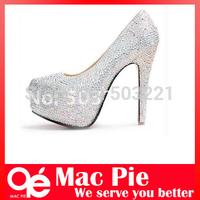 11/14cm crystal rhinestone red bottom high heels women pumps platform wedding women's shoes